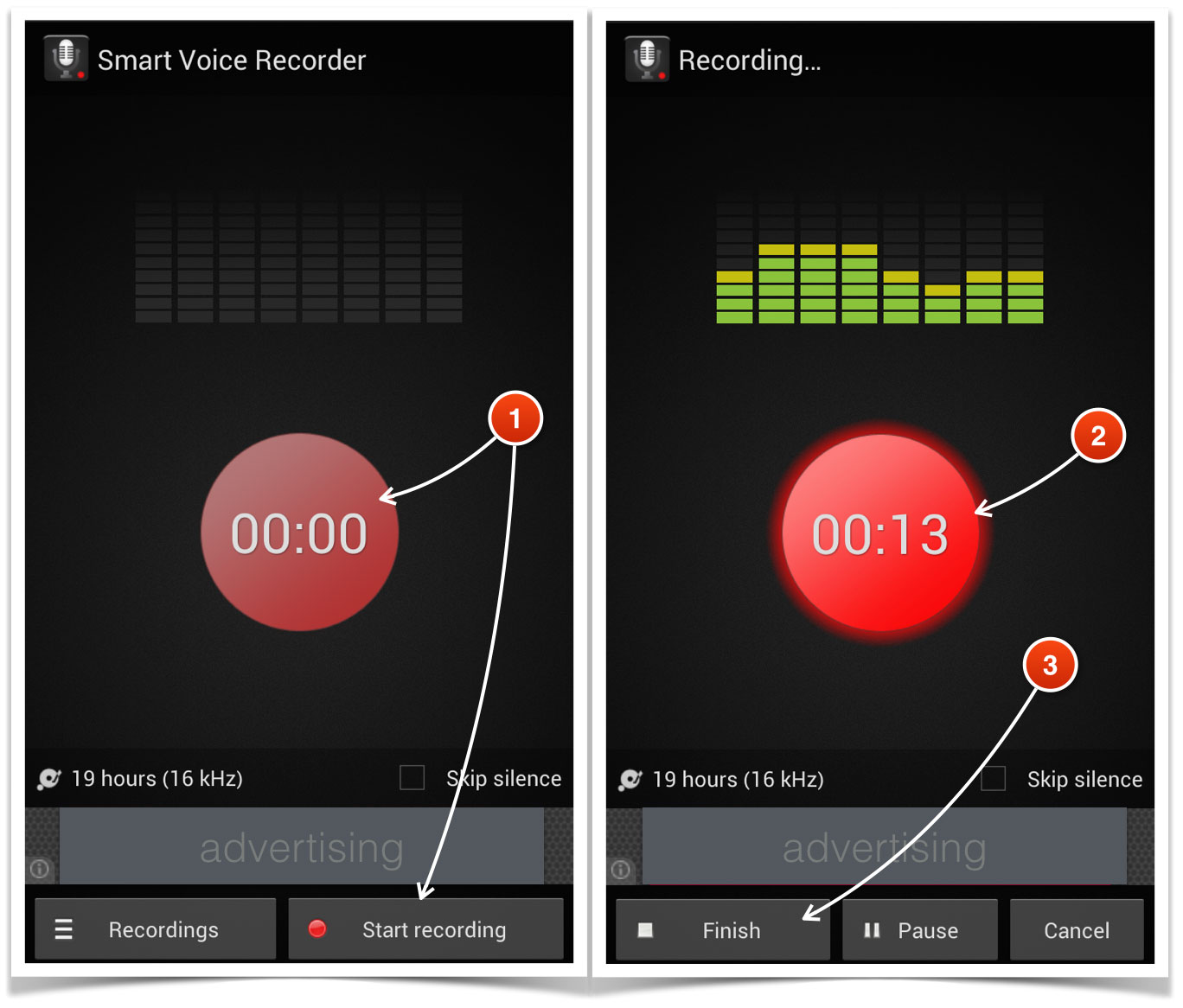 Voice recording on an Android smart phone and transferring